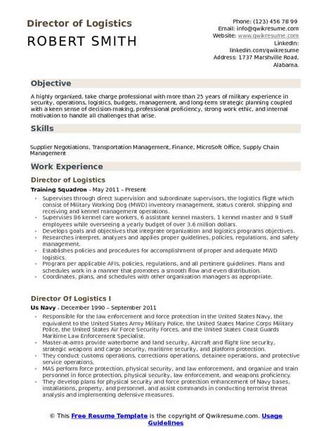 Logistics Resume Samples, Examples and Tips