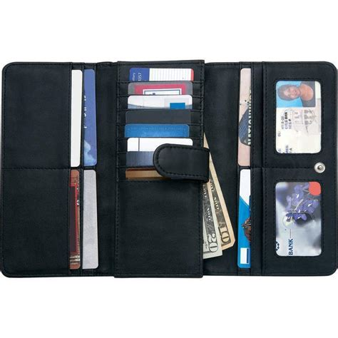 Women Black Solid Leather Wallet w/ RFID Security ,Trifold