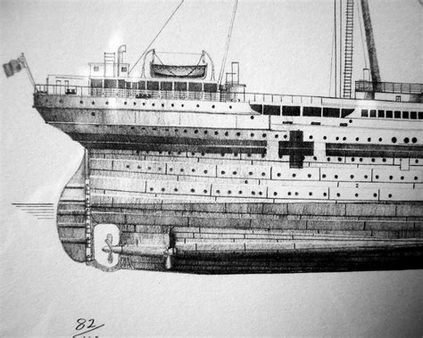 HMHS Britannic's stern   This is a detail from a limited