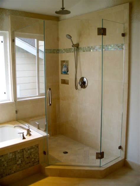 A Framless Neo-Angle Shower Enclosure wih tub deck - Yelp