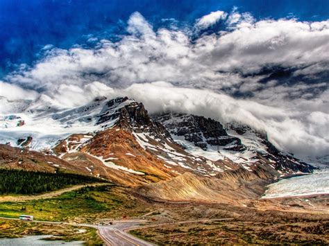 Landscape Snowy Mountains And White Cloud Wallpaper
