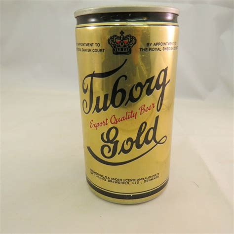 Vintage Tuborg Gold empty beer can 12 oz, aluminum pull
