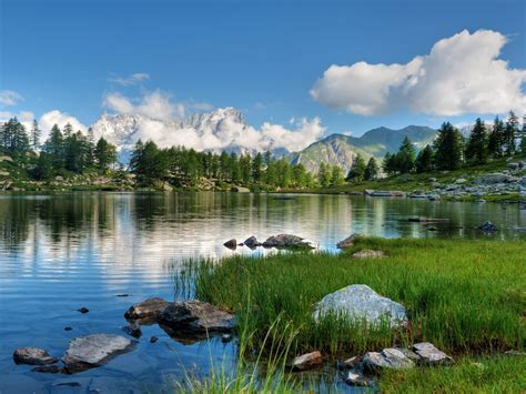 Lake-stones-green grass-pine trees-rocky mountains with