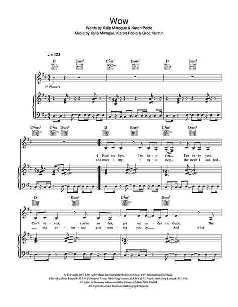 Wow sheet music by Kylie Minogue (Piano, Vocal & Guitar